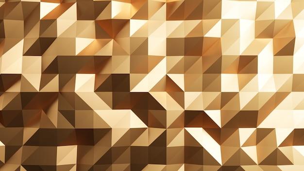 3dレンダリング。ゴールドの三角形の抽象。