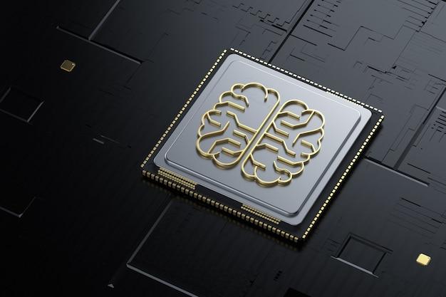 3d rendering golden artificial intelligence brain or circuit board in brain shape