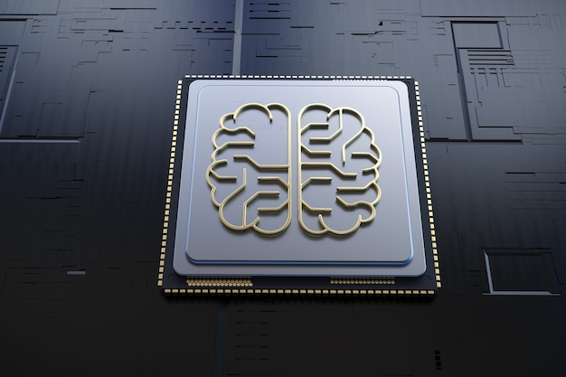 黄金の人工知能の脳または回路基板を脳の形で3dレンダリング