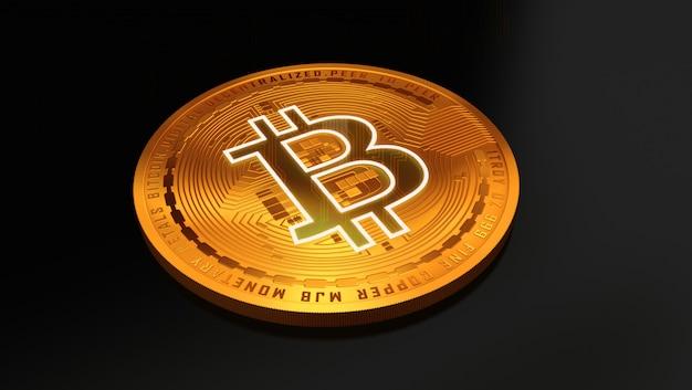 3d rendering of a golden bitcoin. virtual money.