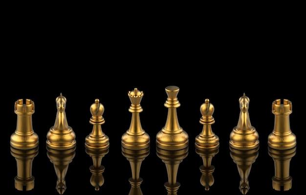 3d rendering. golden chess set collection team on black . teamwork .