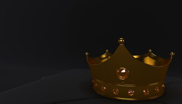 3d rendering of golden crown on a black background, royal gold crown on  pillow