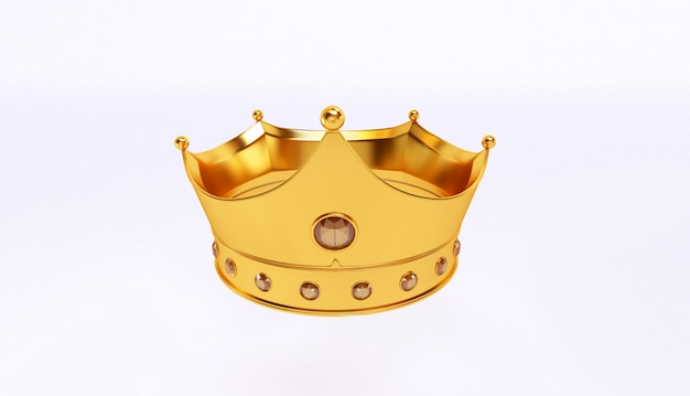 3d rendering of golden crown isolated on white background.