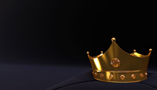 3d rendering of golden crown, royal gold crown on  pillow