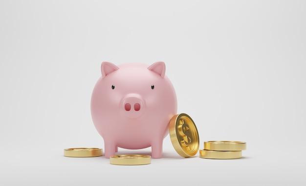 3dレンダリング。白い背景の上のピンクの貯金箱と黄金の1ドル硬貨。ビジネスの財政とお金を節約するためのアイデア。