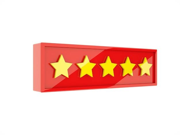 3d рендеринг золотых пяти звезд в красной рамке на белом фоне