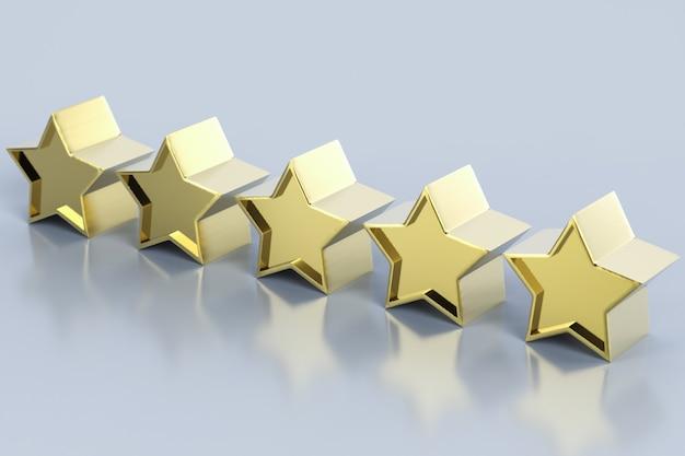 3d рендеринг золотых пяти звезд на сером фоне