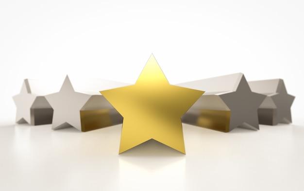 3d рендеринг золотых пяти звезд на белом фоне