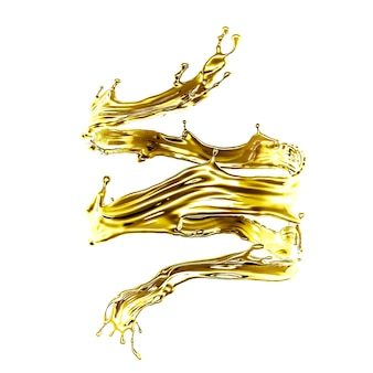 3d rendering of a golden flowing splash