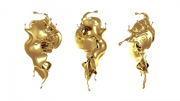 3d rendering of golden flowing splashes