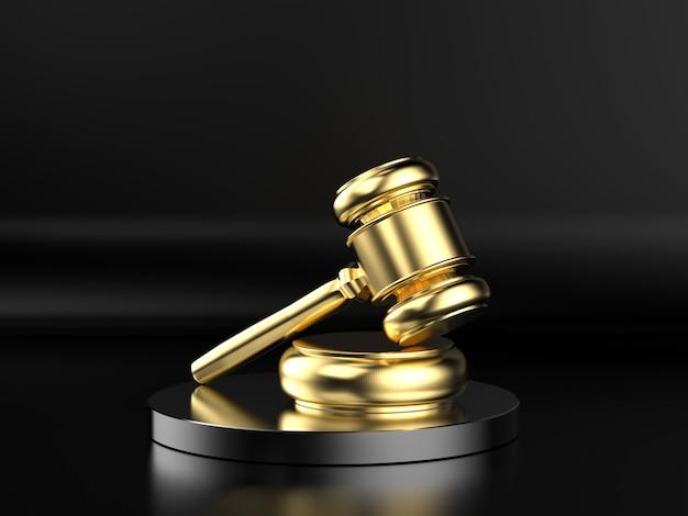 黒の背景に金色のガベル裁判官をレンダリングする3d
