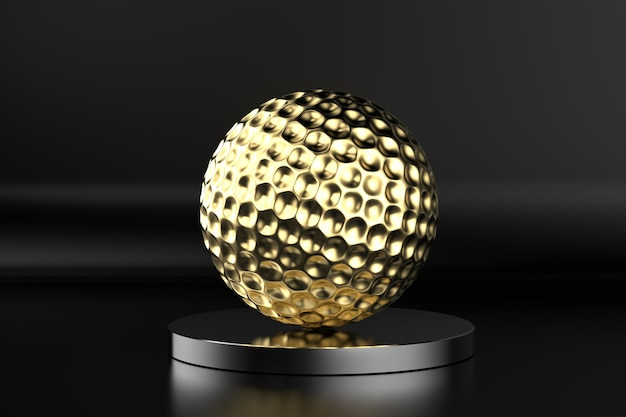 3d rendering golden golf ball on black background