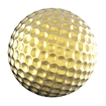 3d-рендеринг золотой мяч для гольфа, изолированные на белом