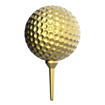 3d-рендеринг золотой мяч для гольфа на тройнике, изолированные на белом