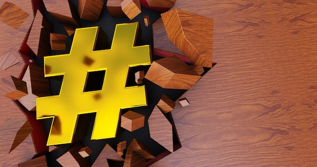 3d rendering of golden hashtag icon on cracked background, gold hashtag on wooden background