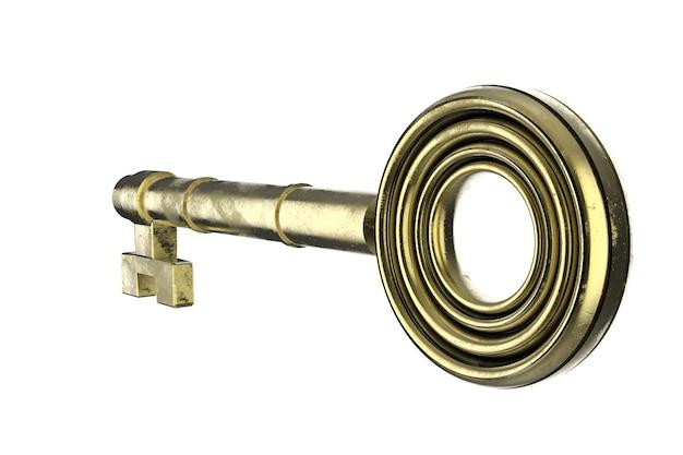 3d rendering golden key on white background