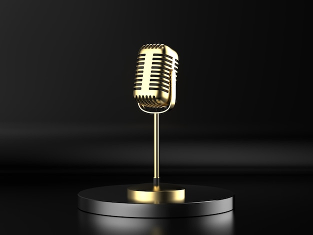 3d rendering golden microphone on stage with black background