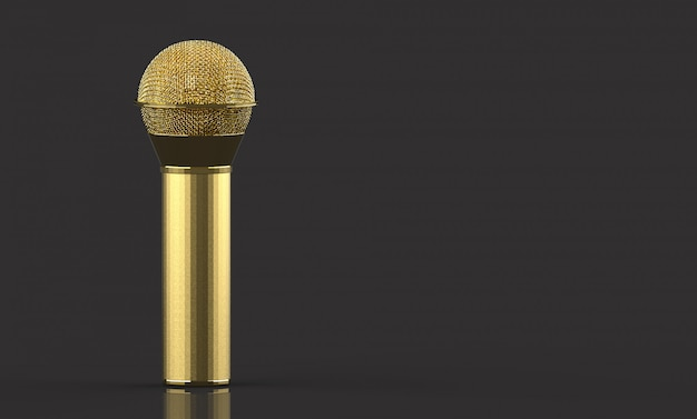 3d rendering. a golden microphone with clipping path isolated on gray background.