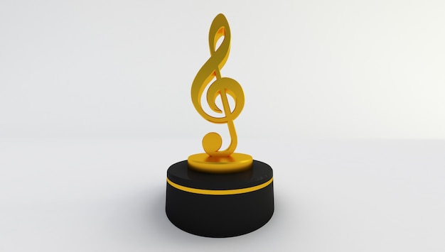 3d rendering of a golden music note isolated