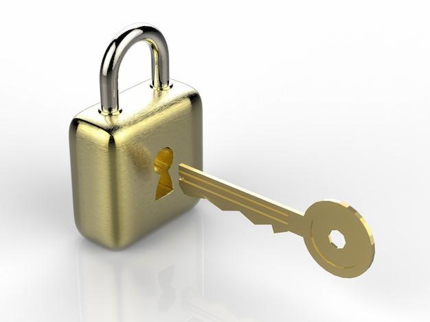 3d-рендеринг золотой замок с золотым ключом на белом фоне