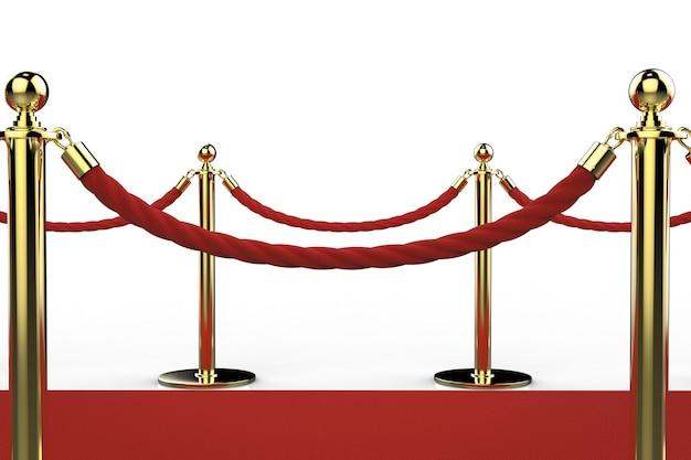 레드 카펫에 밧줄 장벽이 있는 3d 렌더링 황금 기둥 프리미엄 사진