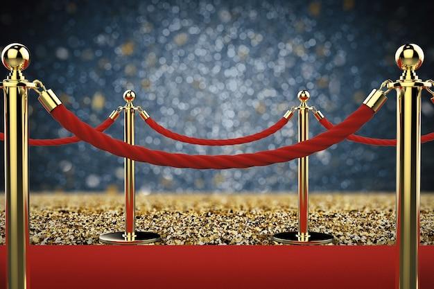 레드 카펫에 밧줄 장벽이 있는 3d 렌더링 황금 기둥