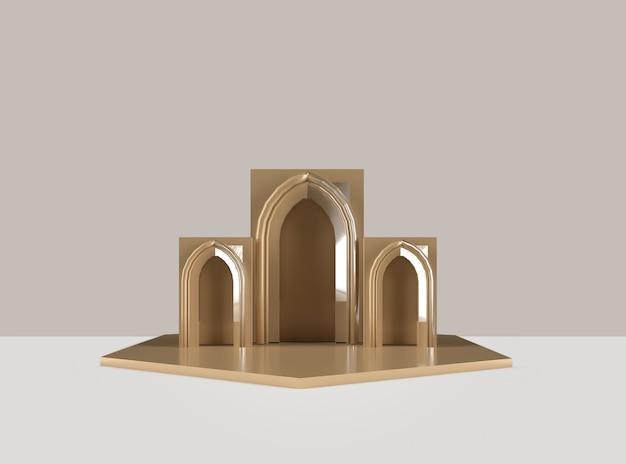 3 dレンダリングゴールデン表彰台モスク