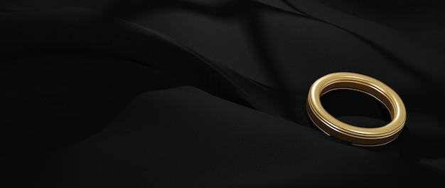 金戒指和黑布的三维渲染。抽象艺术时尚背景。