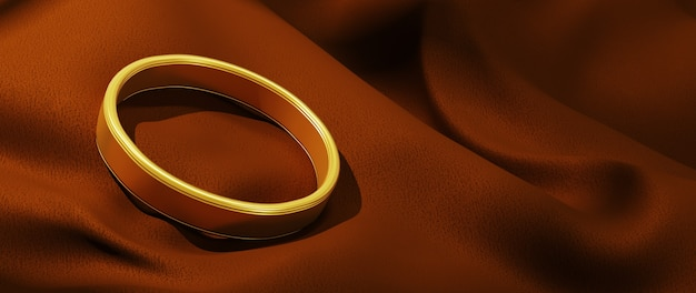 金色戒指和棕色布料的三维渲染。抽象背景。