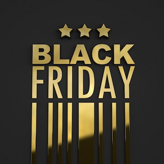 3d rendering of a golden sign on black background with the words black friday