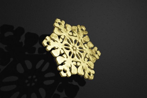 3d rendering golden snowflake frosty texture flies on a dark, black background.