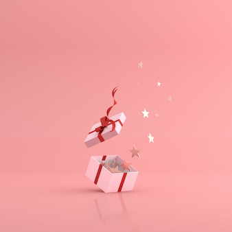 3d rendering of golden stars floating out from gift box.