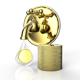 金貨が落ちる3dレンダリングゴールデンタップ