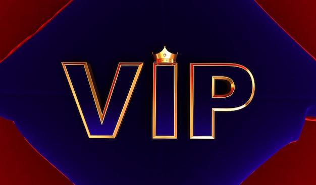 3d rendering of golden vip crown, royal gold vip crown on  bleu pillow, crown vip
