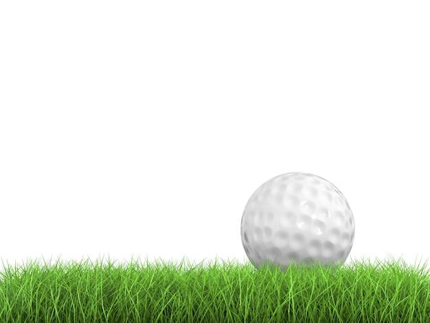 3d-рендеринг мяч для гольфа на зеленой траве, вид сбоку