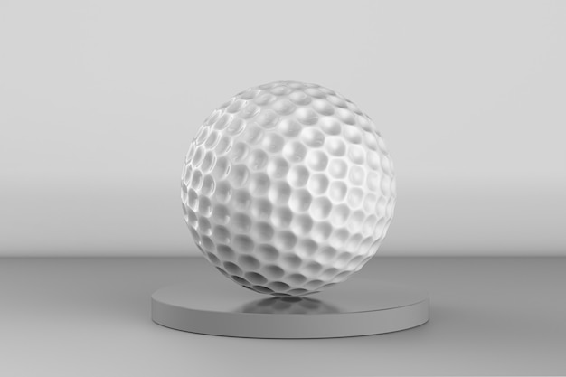 3d-рендеринг мяч для гольфа на сером фоне