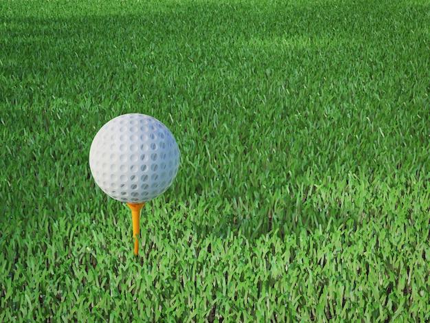 3d-рендеринг мяч для гольфа на тройнике в поле