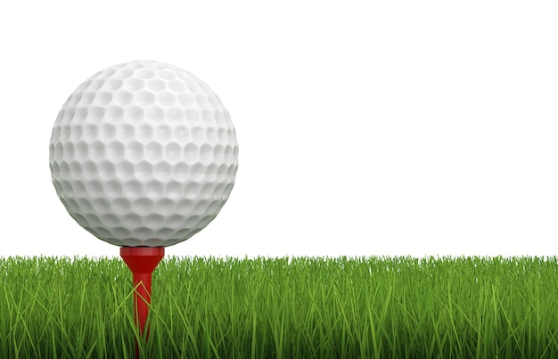 3d-рендеринг мяч для гольфа на тройнике с зеленой травой