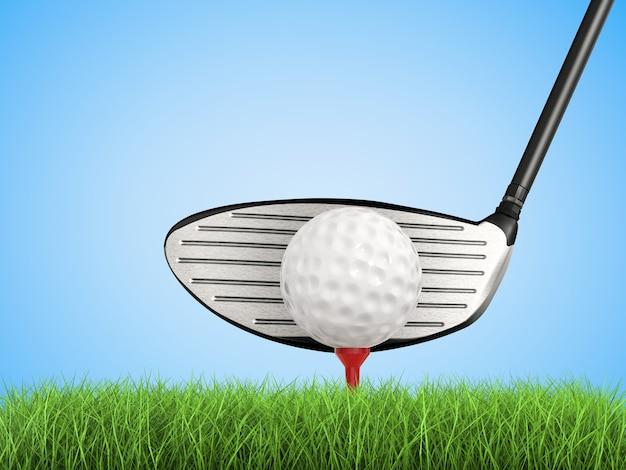 3d-рендеринг гольф-клуба с мячом для гольфа на вид сбоку тройник