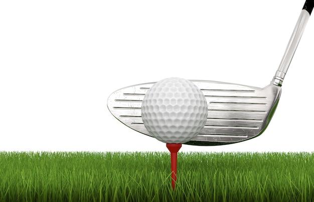 3d-рендеринг гольф-клуба с мячом для гольфа на тройнике