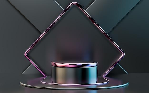 製品プレゼンテーション用の3dレンダリンググラデーション光沢のある抽象的な幾何学的表彰台ステージ