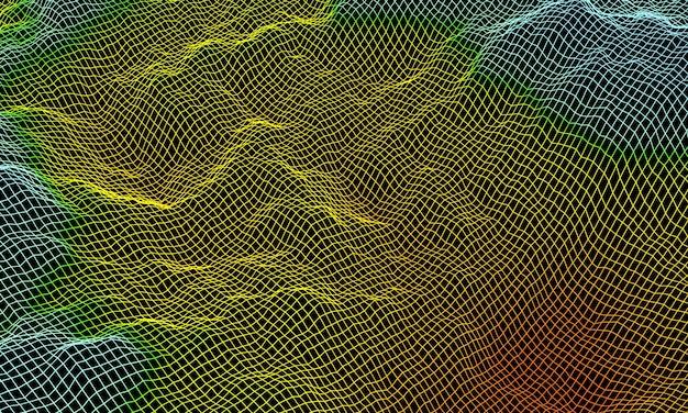 3d rendering. gradient topographic grid terrain