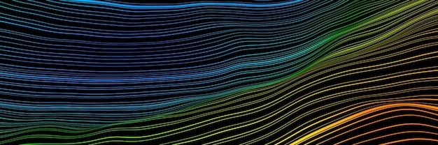 3d rendering. gradient topographic lines. stripped terrain.