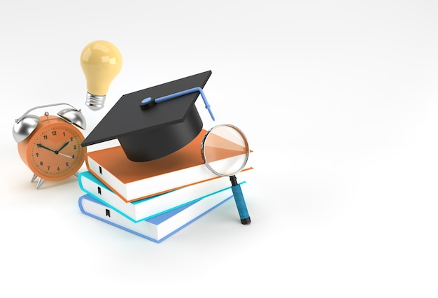 3d rendering of graduation cap, magnifying glass bulb with books realistic 3d shapes. education online concept.