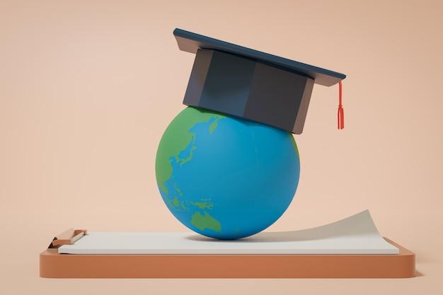 3dレンダリング、地球とクリップボードの卒業の帽子、学校のコンセプトに戻る