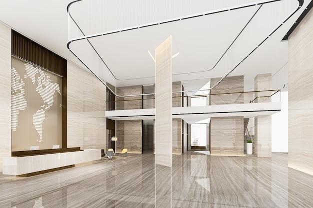 높은 천장과 3d 렌더링 그랜드 럭셔리 호텔 리셉션 홀과 라운지 레스토랑