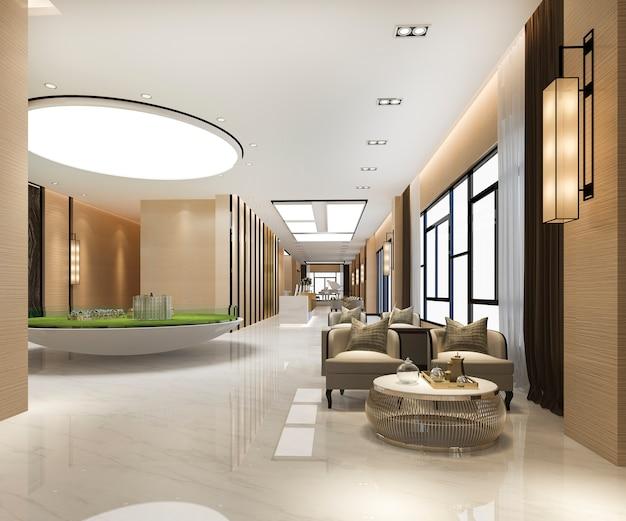 3d 렌더링 그랜드 럭셔리 호텔 리셉션 홀 및 판매 콘도미니엄 센터