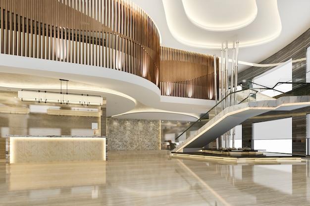 3d 렌더링 그랜드 고급 호텔 리셉션 홀 입구와 계단 라운지 레스토랑