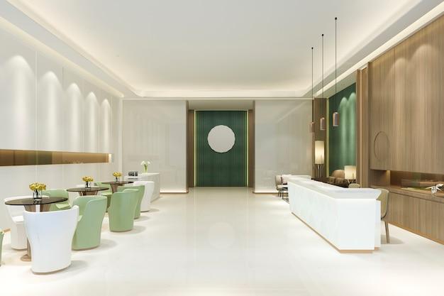 緑のトーンのアジアンスタイルの3 dレンダリングの壮大な高級ホテルのレセプションホール