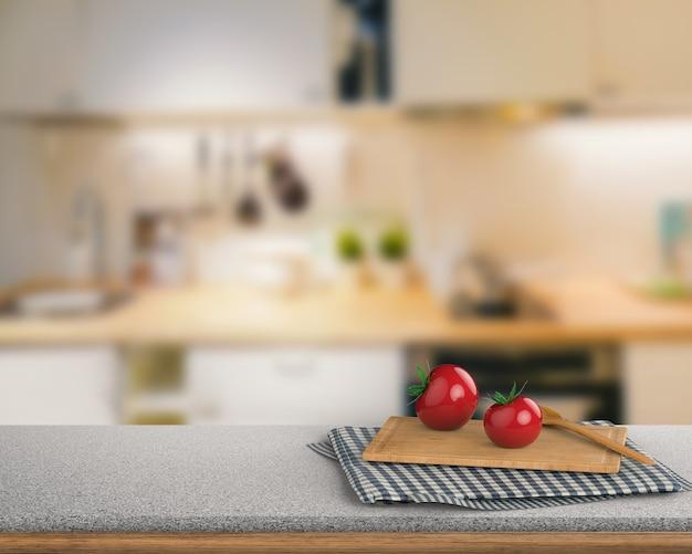 キッチンキャビネットの背景にトマトとまな板を備えた3dレンダリング花崗岩のカウンタートップ